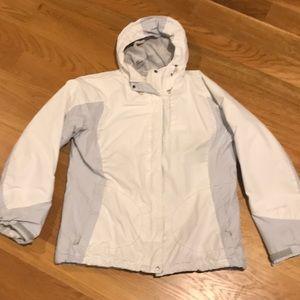 Columbia Jacket Coat Large White Gray Snow Ski